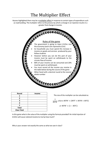 The Multiplier Effect Circular Flow of Income Game