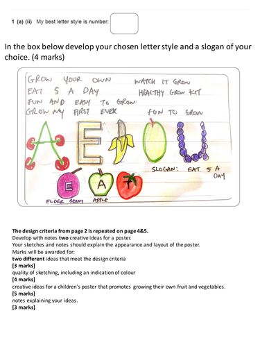 AQA Graphic Products Exam Theme 2016: Encouraging children to grow their own fruit and vegetables.