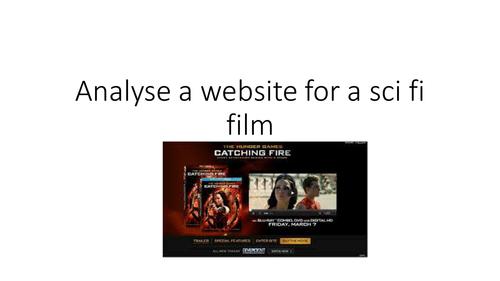 AQA  EXAM SCI FI - ANALYSE A WEBSITE FOR A SCI FI FILM