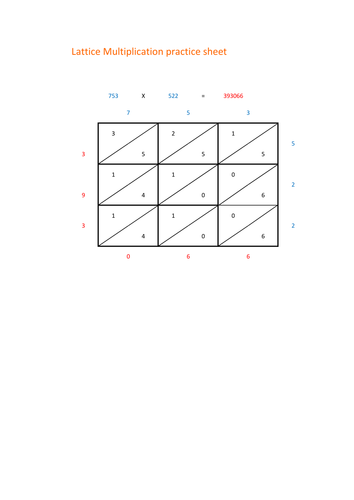 lattice multiplication worksheet by pumpkin07 teaching resources tes. Black Bedroom Furniture Sets. Home Design Ideas