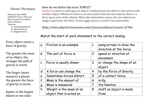 Forces Revision Mat Ks3 By Alimitch53 Teaching Resources Tes