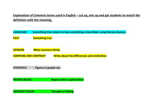 Language Terms: Mix up and match resource
