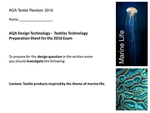 Aqa  GCSE 2016 Textile pre-release exam