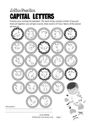 Space themed alphabet and numbers cursive handwriting resource: Key Stage 1 and 2