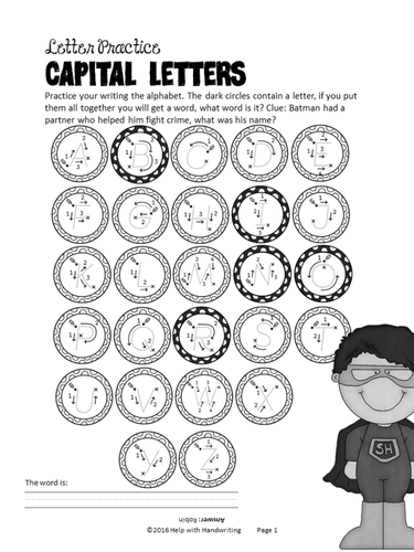 Superhero themed alphabet and numbers cursive handwriting resource: Key Stage 1 and 2
