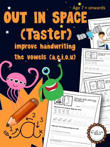 Write Vowels: Space: Cursive Handwriting Worksheets for 7 -11 years, KS1 & KS2, Yr 3 to Yr6
