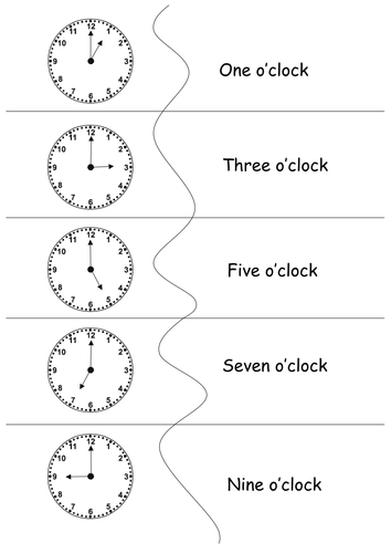 Introduction to Telling the time - Analogue Version - Matching Game