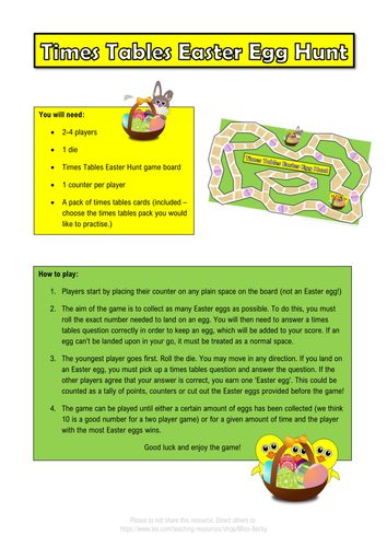 Times Tables Easter Egg Hunt Board Game - Differentiated