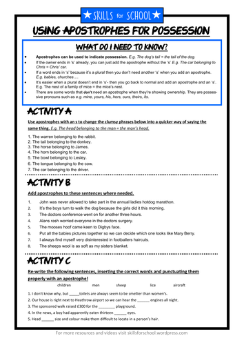 APOSTROPHES FOR POSSESSION (with answers) by Skills for School