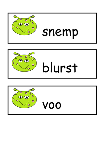 phonics screening revision pack including pseudo ( or alien/ nonsense) words