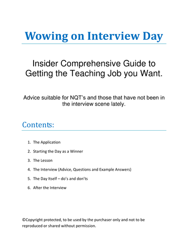 Interview Day Advice - How to Get a Teaching Job