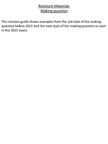 AQA Resistant Materials 2017: The Making Question in Section B
