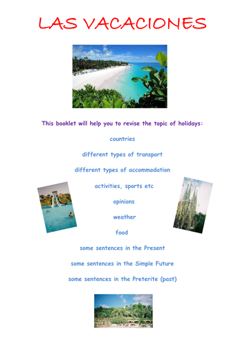 KS3 Spanish Revision Booklet – holidays