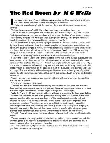 the red room essay plan An essay plan that helps ks3 or ks4 students structure their essay answer to this question: how does the writer create tension in this extract from 'the red room.