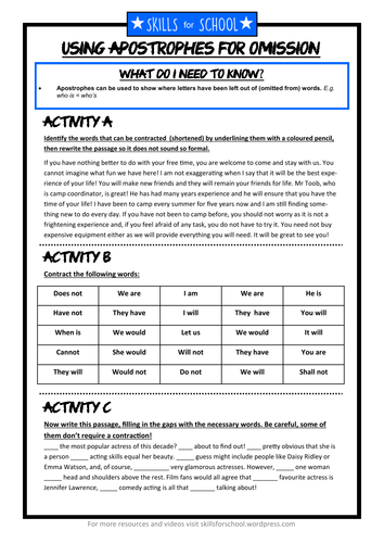 APOSTROPHES FOR OMISSION (with answers) by Skills for School