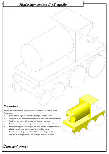 Rendering a toy train- shading and tone