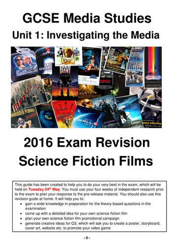 Science Fiction Films Revision Guide for 2016 GCSE Media Studies Exam!