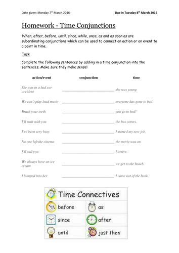 time conjunctions homework sheet by soppo08 teaching resources. Black Bedroom Furniture Sets. Home Design Ideas