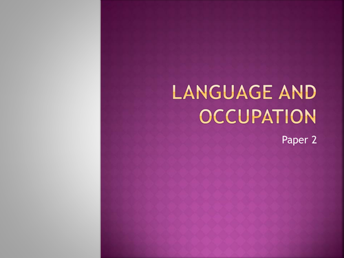 Language and Occupation: Teaching
