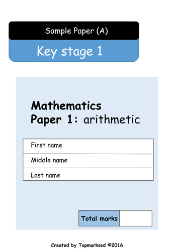2016 KS1 Maths Paper 1 (Arithmetic - questions and answers ...