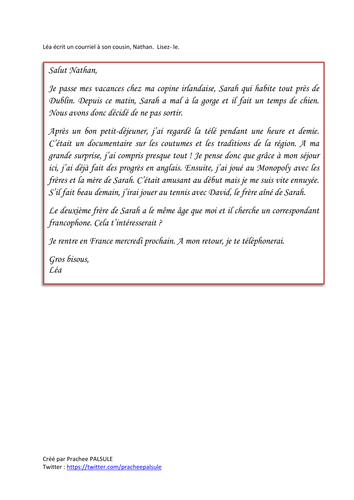 French IGCSE, GCSE Paper 2 style comprehension exercise