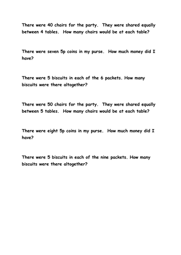 1 step multiplication and division problems - working at year 2 standard