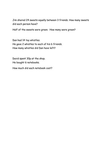 2 step division word problems year 2