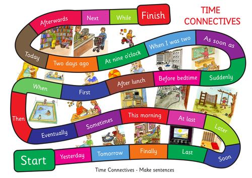 Time Connectives Game. A3 size. Make up sentences.
