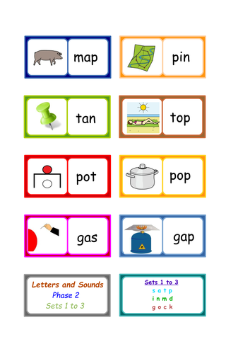 Letters and Sounds phonics :  Phase 2 words dominoes . 3 SETS .
