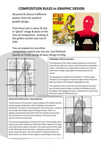 Graphic Design - poster composition analysis Homework /Lesson task KS4 / KS5