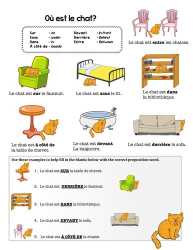 French preposition practice by chezgalamb teaching for Furniture quiz questions