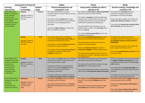 Primary PE assessment framework