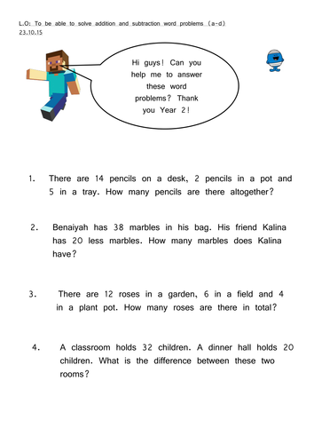 Year 2 - Addition and Subtraction Problem Solving