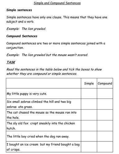 Simple and Compound Sentences Worksheet by jessplex - Teaching ...