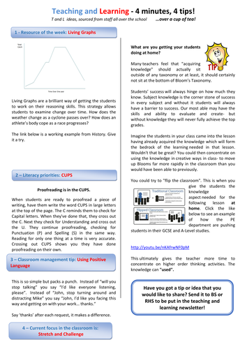 Teaching and learning newsletters