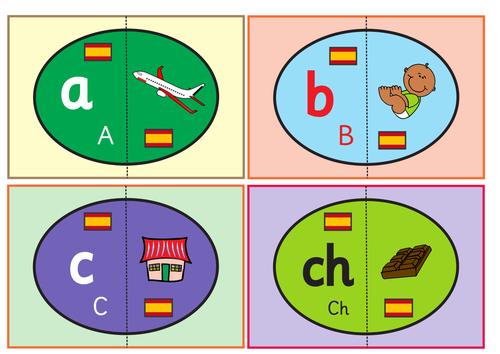 Spanish Alphabet Eggs Flashcards. Matching Game .