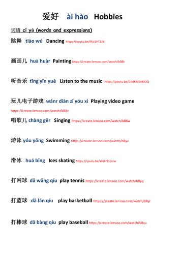 Chinese Mandarin - Hobbies