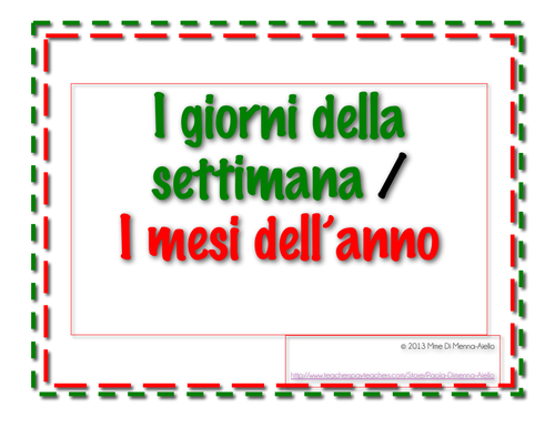 Days of the Week/Months of the Year in Italian