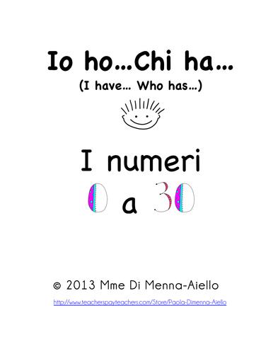 Io ho...Chi ha...I NUMERI (0 a 30) I have... Who has...