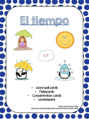 El tiempo-Weather Flashcards/Game/Handout
