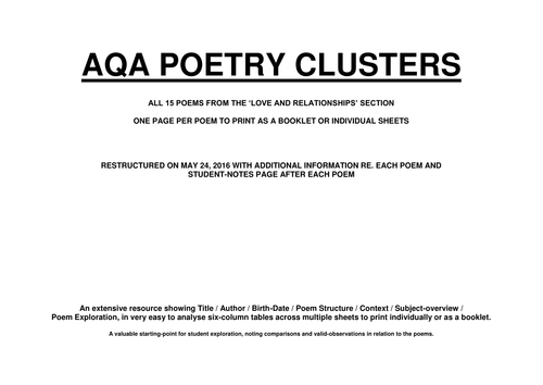 GCSE POETRY - LOVE AND RELATIONSHIPS CLUSTER (FULL 15 POEM ANALYSIS) - AQA - REVISED MAY 24, 2016
