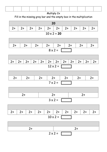 Bar Model Multiplication (SET 1)         2x, 3x, 4x, 5x, 6x, 7x, 8x, 9x 10x, 11x, 12x