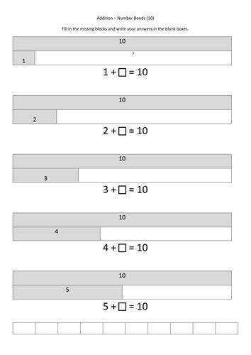 Bar Modeling - Number bonds - Additon to 10
