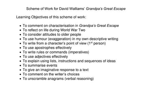 David Walliams - Grandpa's Great Escape SOW and more KS2 KS3