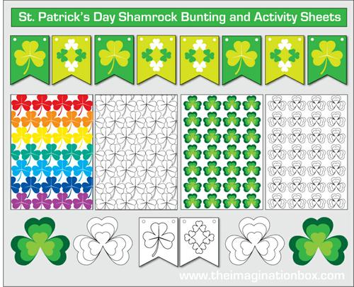 St.Patrick's Day free printable shamrock bunting and colouring activity sheets