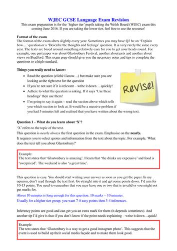 WJEC Langauge Reading Exam June 2016 Revision