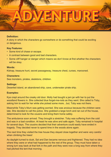 Adventure/Mystery story writing poster/example sheet