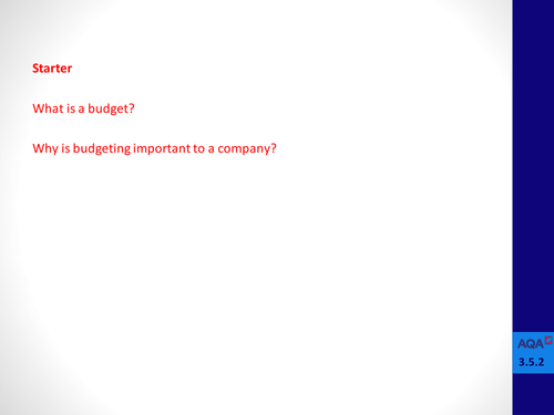 Analysing Budgets (AS / A Level)