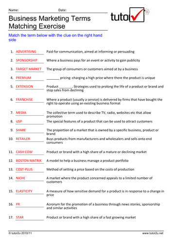 Marketing Exercise - Key Terms Activity