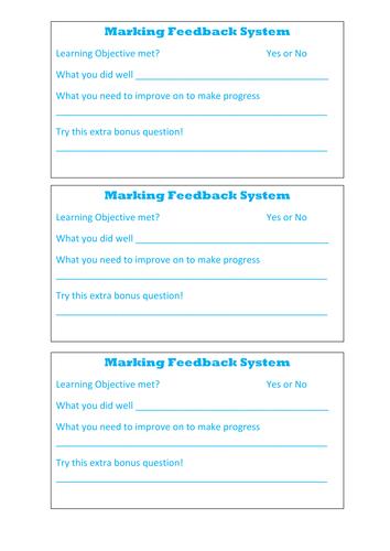 Marking feedback for pupils book